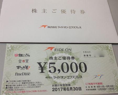 6082ライドオン・エクスプレス2016年3月権利確定分株主優待券