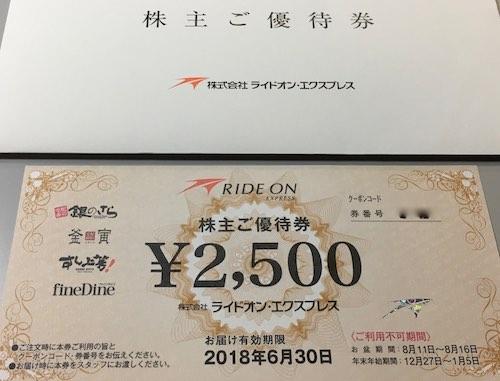6082ライドオン・エクスプレス株主優待券