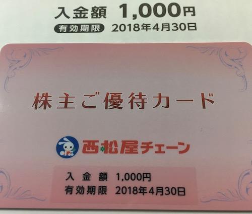 7545西松屋チェーン株主優待カード