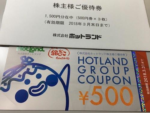3196ホットランド株主優待券