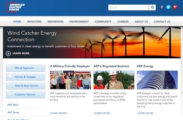 AEPアメリカンエレクトリックパワートップページ画像
