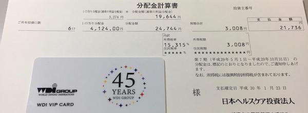 3308日本ヘルスケア投資法人分配金