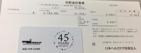 3308日本ヘルスケア投資法人2018年4月期分配金