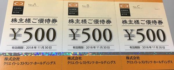 3387クリエイトレストランツHD株主優待券