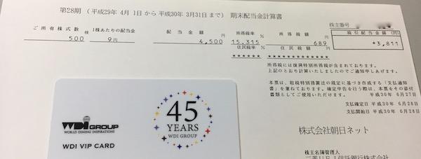 3834朝日ネット2018年3月期期末配当金