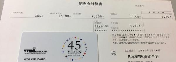 6178日本郵政中間配当金