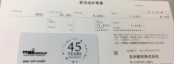 6178日本郵政2018年3月期期末配当金
