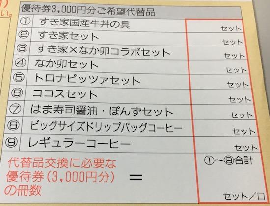 7550株主優待券の代替品