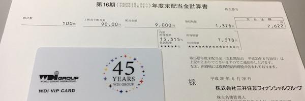 8316三井住友FG2018年3月期期末配当金