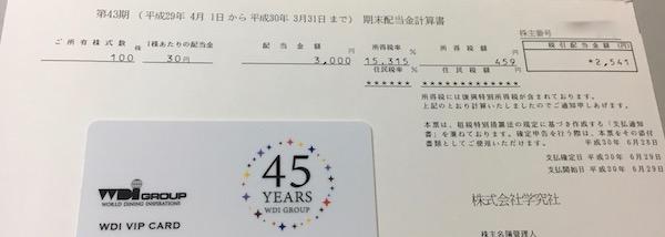 9769学究社2018年3月期期末配当金