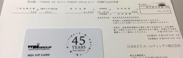 9873日本KFCHD中間配当金