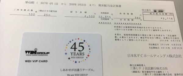 9873日本KFC2018年3月期期末配当金