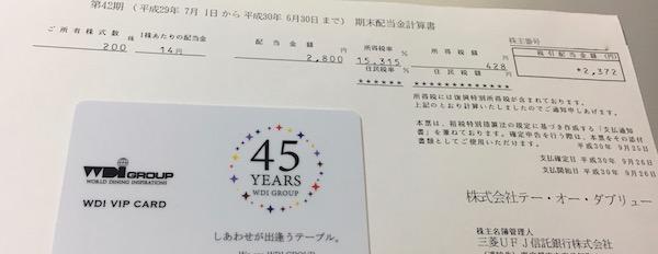 4767テー・オー・ダブリュー2018年6月期期末配当金