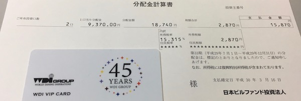8951日本ビルファンド分配金受領報告書