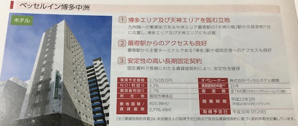 8977阪急阪神リート投資法人ベッセルイン博多中洲
