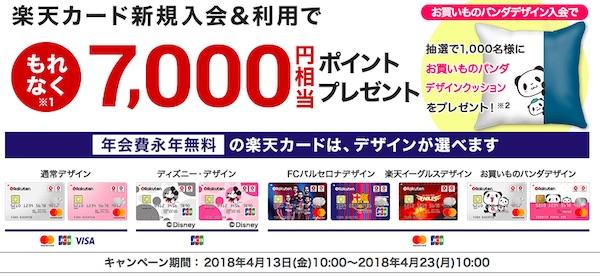 楽天カード7000ポイントキャンペーン