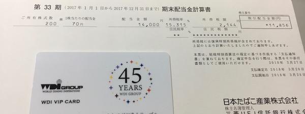 2914日本たばこ産業2017年12月期配当金