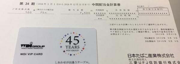 2914日本たばこ産業2018年12月期中間配当金