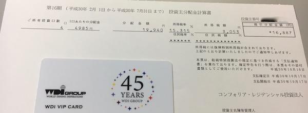 3282コンフォリア・レジデンス2018年7月期分配金