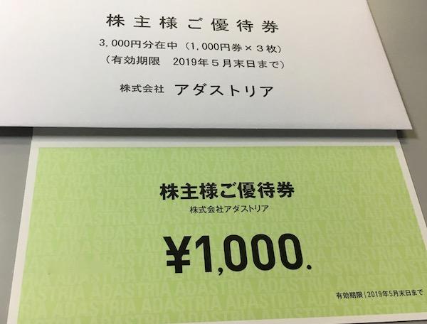 2685アダストリア株主優待券
