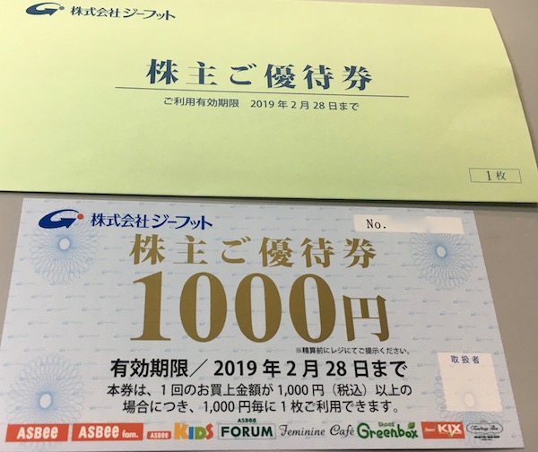 2686ジーフット株主優待券