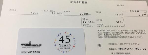 4668明光ネットワークジャパン2018年8月期期末分配金