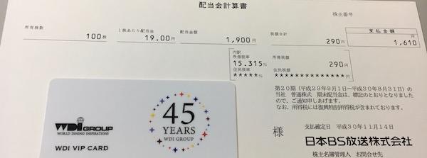 9414日本BS放送2018年8月期期末配当金