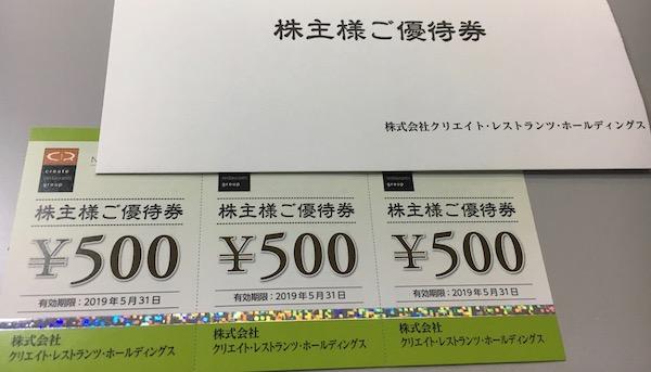 3387クリエイト・レストランツHD株主優待券