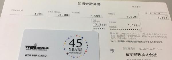 6178日本郵政2019年3月期中間配当金