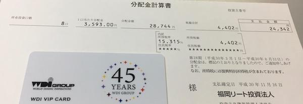 8968福岡リート投資法人2018年8月期分配金