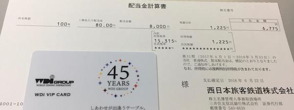 9021西日本旅客鉄道配当金受領日記