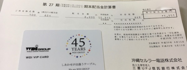 9436沖縄セルラー電話2018年3月期期末配当金