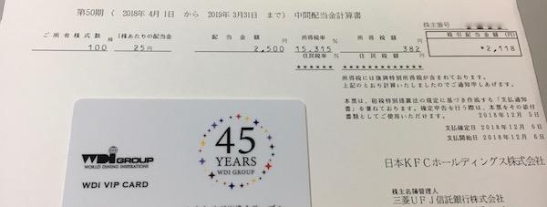 9873日本KFCHD2019年3月期中間配当金