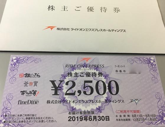 6082ライドオンエクスプレス2018年3月期株主優待券