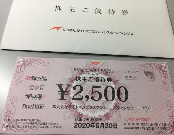 6082ライドオンエクスプレス2019年3月権利確定分株主優待券