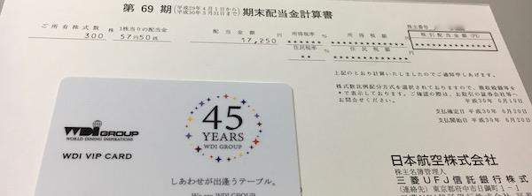 9201日本航空2018年3月期期末配当金