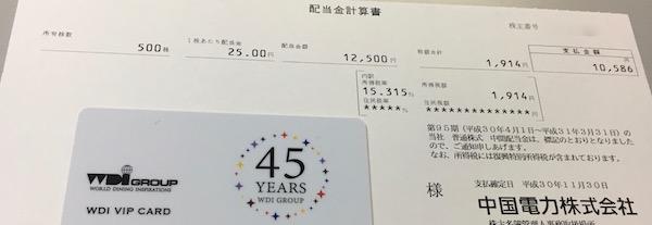 9504中国電力2019年3月期中間配当金