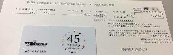 9511沖縄電力2019年3月期中間配当金