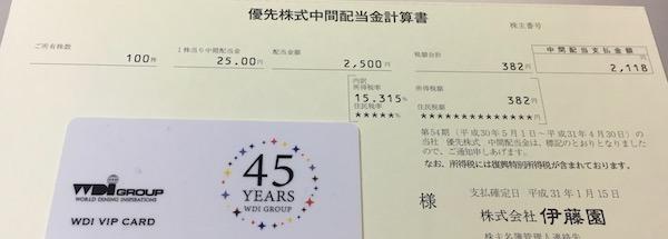 25935伊藤園第1種優先株式2019年4月期中間配当金