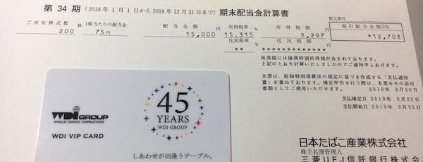 2914日本たばこ産業2018年12月期期末配当金