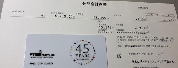 8967日本ロジスティクスファンド2019年7月期受取分配金