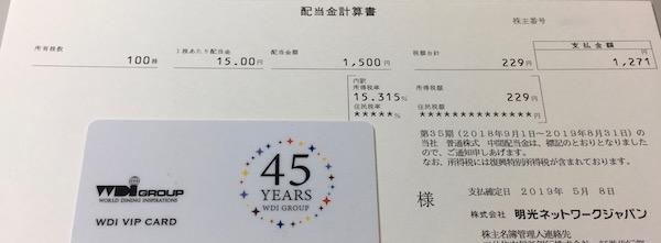 4668明光ネットワークジャパン2019年8月期中間配当金