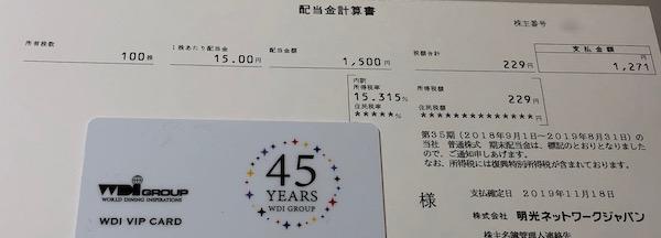 4668明光ネットワークジャパン2019年8月期期末配当金