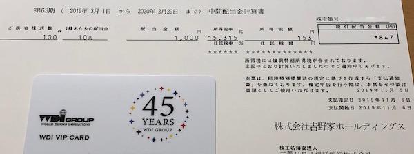 9861吉野家HD2020年2月期中間配当金