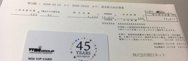 3834朝日ネット2019年3月期期末配当金