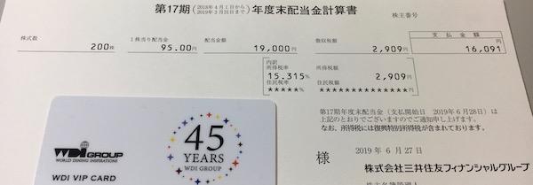 8316三井住友FG2019年3月期期末配当金