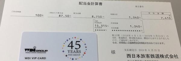 9021西日本旅客鉄道2019年3月期期末配当金