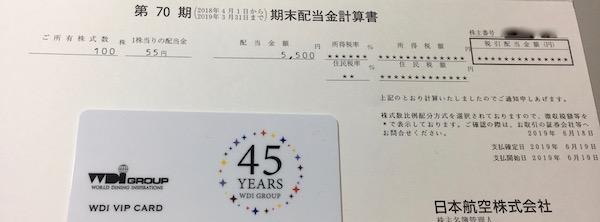 9201日本航空2019年3月期期末配当金