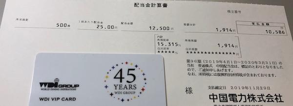 9504中国電力2020年3月期中間配当金
