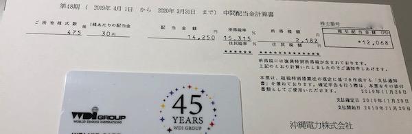 9511沖縄電力2020年3月期中間配当金
